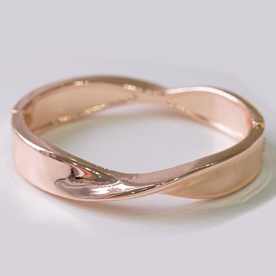 Rose Gold Plated Openable Twisted Design Fashion Bangle 1350a