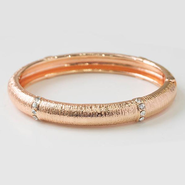 Rose Gold Plated Openable Hinged Bangle set with Cubic Zirconias 1480a