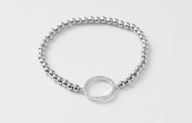 Silver Plated Beaded Bracelet set with Cubic Zirconias 1537s
