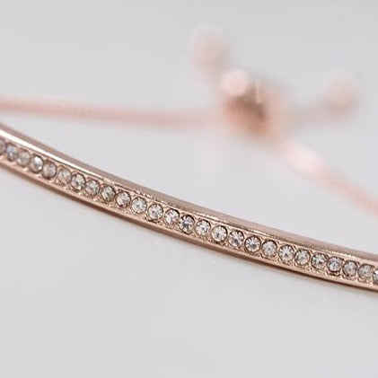 Rose Gold Plated Adjustable Drawstring Bracelet set with Cubic Zirconias 1825a