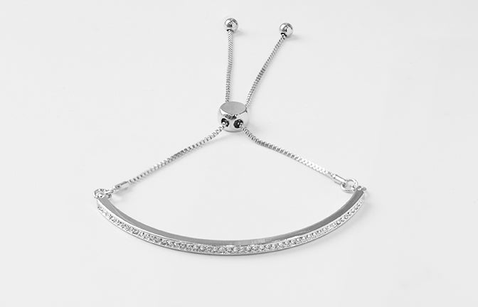 White Gold Plated Adjustable Drawstring Bracelet set with Cubic Zirconias 1825s