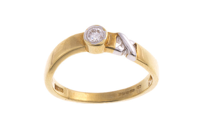 18ct Two Tone Gold Diamond Ring DR4157