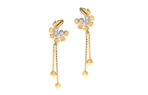 22ct Yellow Gold Earrings set with Cubic Zirconia stones, Minar Jewellers - 2