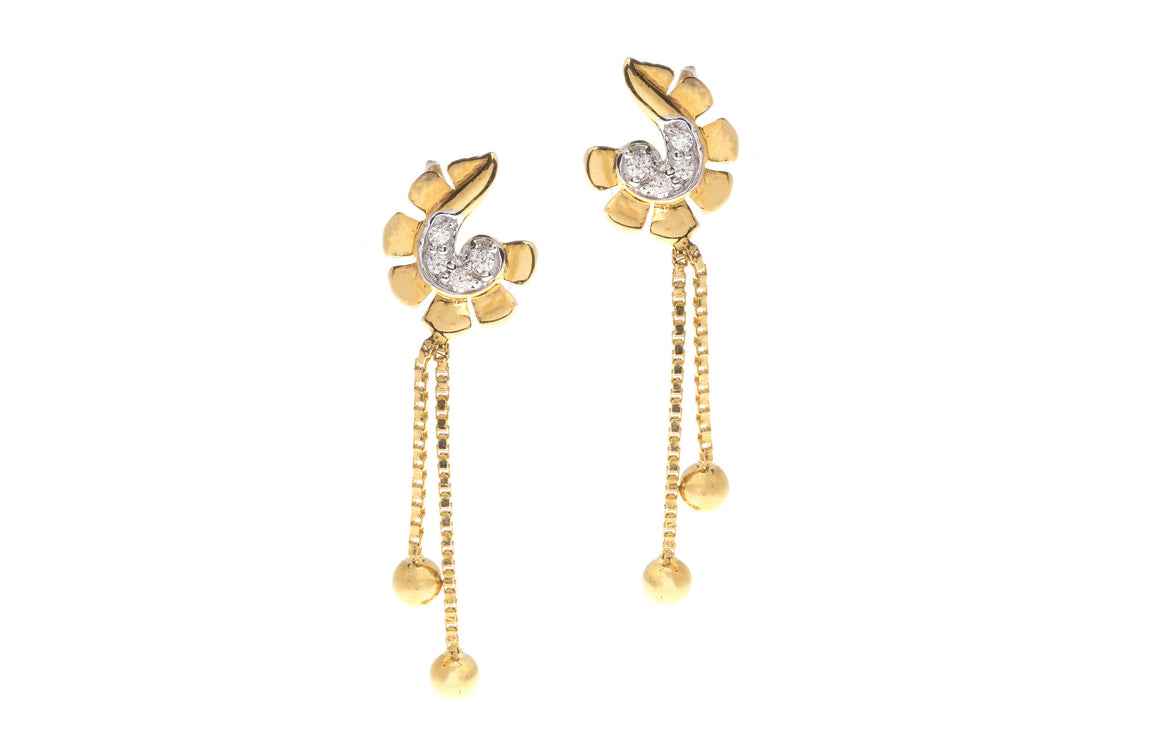 22ct Yellow Gold Earrings set with Cubic Zirconia stones, Minar Jewellers - 1