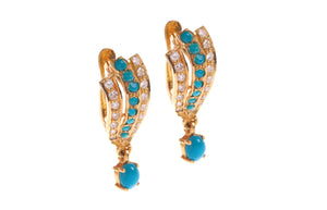 22ct Yellow Gold Earrings set with Cubic Zirconia & Turquoise stones (G1613), Minar Jewellers - 1