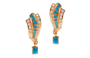 22ct Yellow Gold Earrings set with Cubic Zirconia & Turquoise stones (G1613), Minar Jewellers - 2