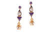22ct Yellow Gold Earrings set with Cubic Zirconia & Synthetic Amethysts (G1611), Minar Jewellers - 1
