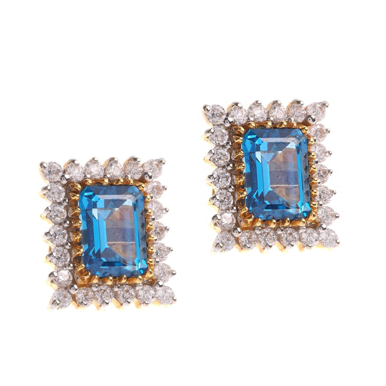 22ct Yellow Gold Earrings set with Blue Cubic Zirconia stones (G1383), Minar Jewellers - 2