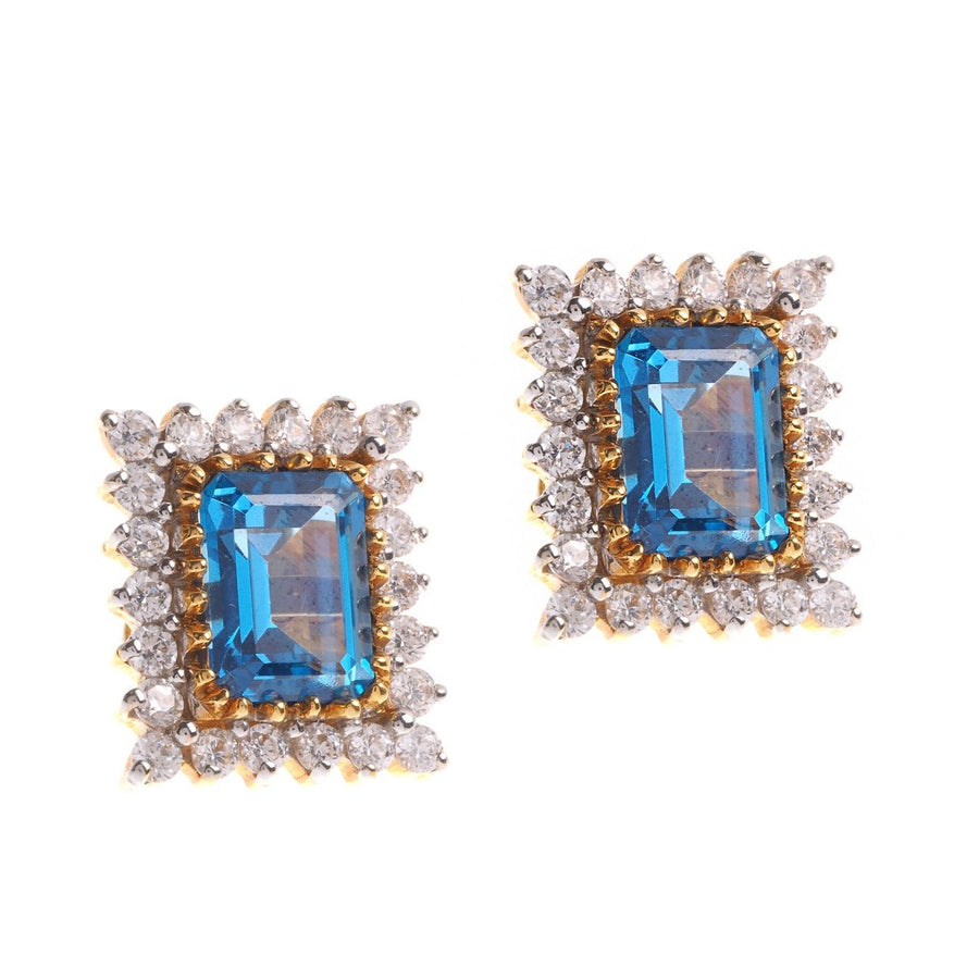 22ct Yellow Gold Earrings set with Blue Cubic Zirconia stones (G1383), Minar Jewellers - 1