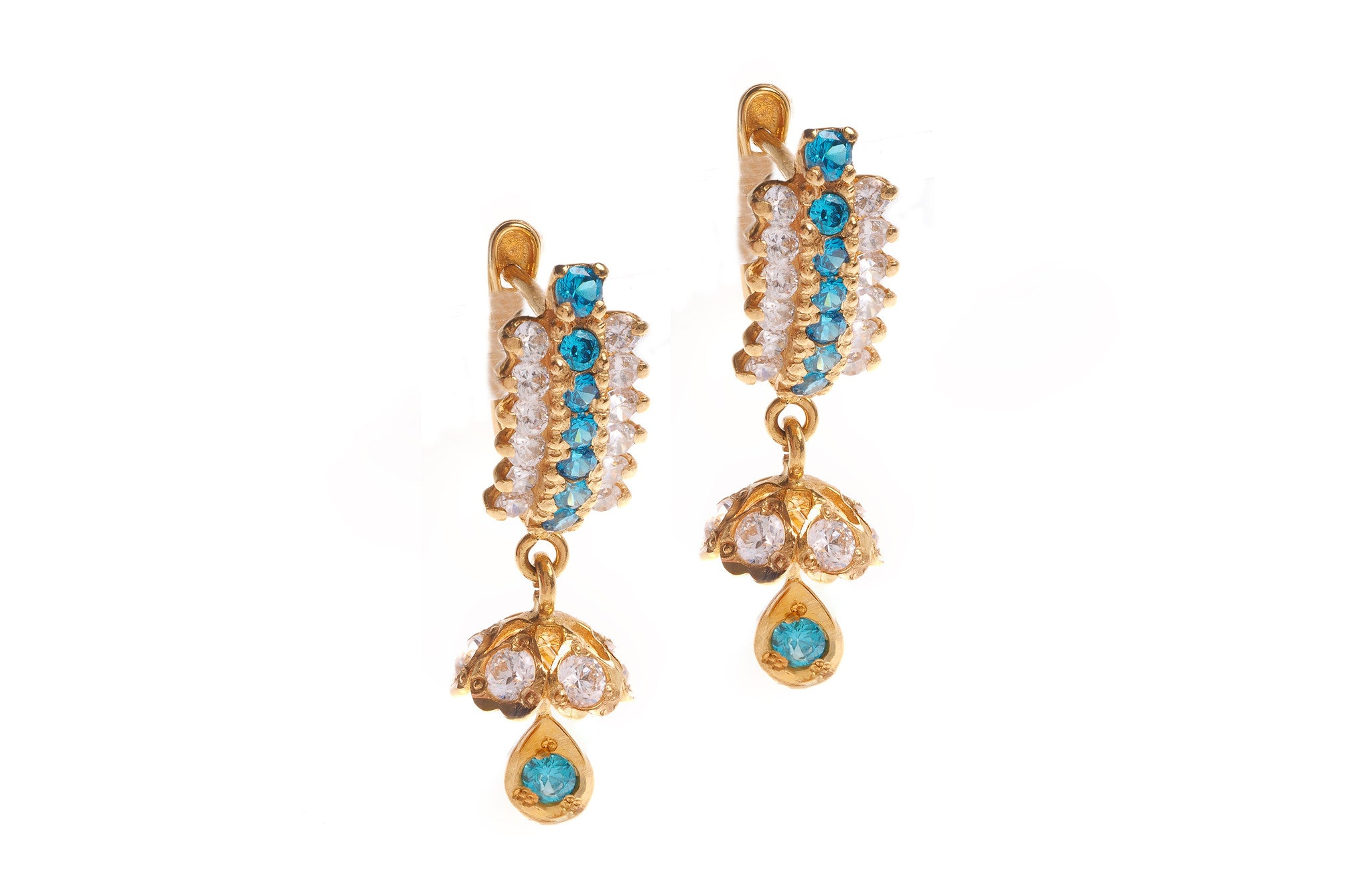 22ct Yellow Gold Earrings set with Cubic Zirconia stones (G1427), Minar Jewellers - 2