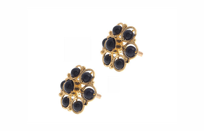 22ct Gold Stud Earrings with Black Beads (3.4g) E-3306
