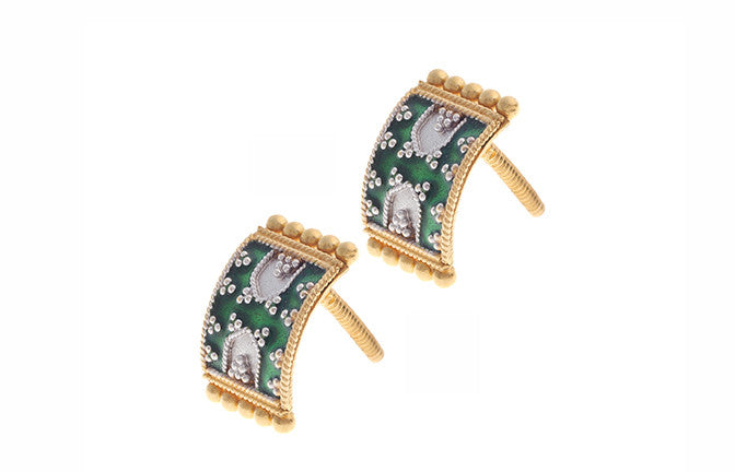 22ct Gold and Green Enamel Stud Earrings (4.8g) E-3353