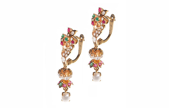 22ct Yellow Gold Cubic Zirconia & Coloured Stone Drop Earrings (E-3356) (online price only)