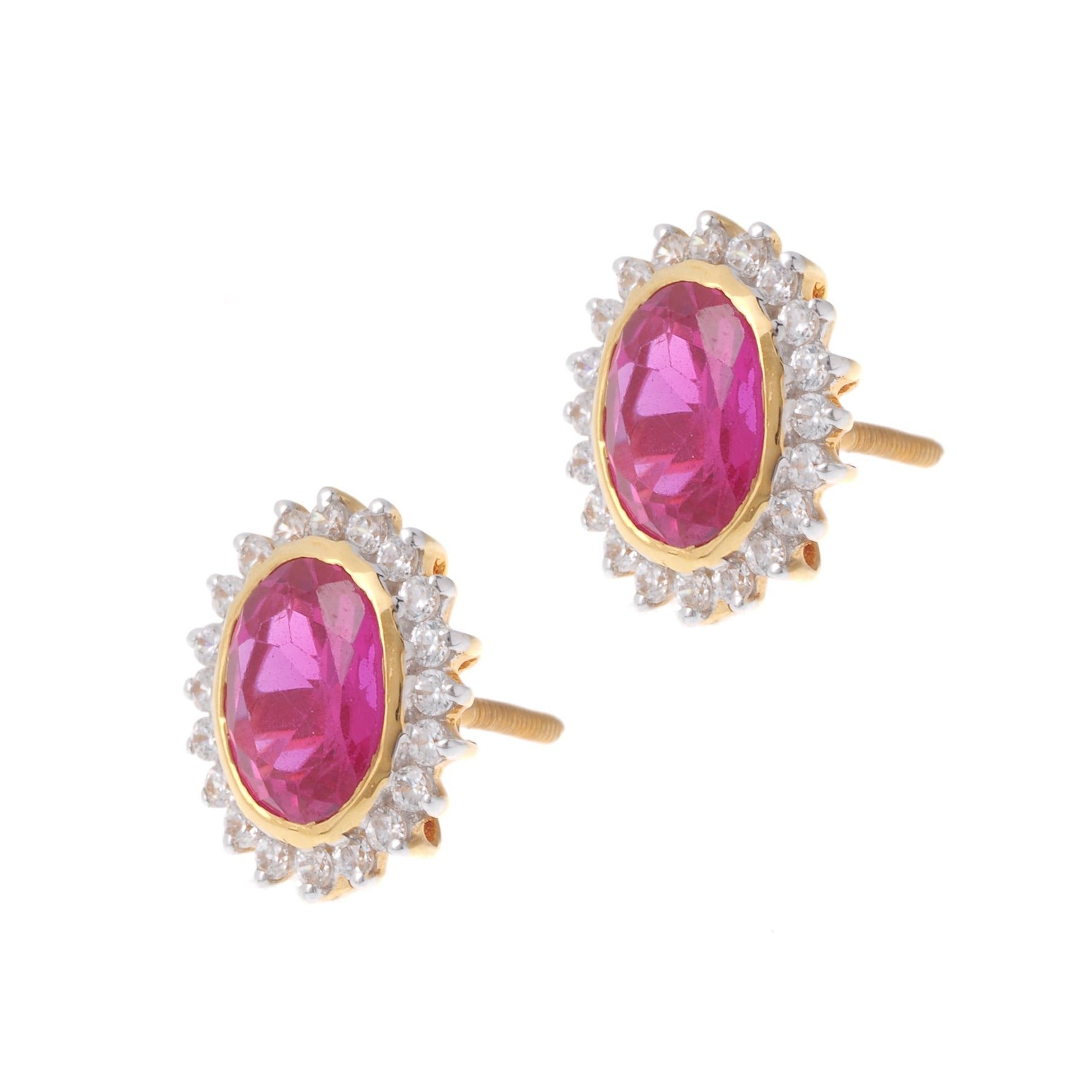 22ct Gold Stud Earrings Cubic Zirconia (White & Red) with Screw Backs (5.34g) PS13038
