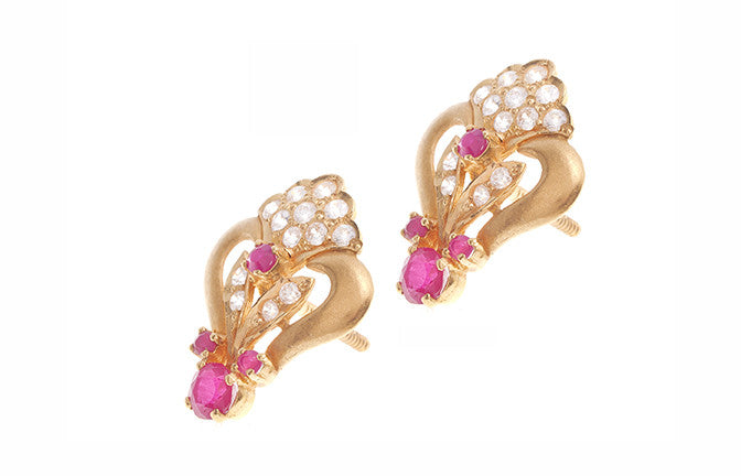 22ct Gold Cubic Zirconia & Pink Stone Stud Earrings (6.6g) (E-3372)