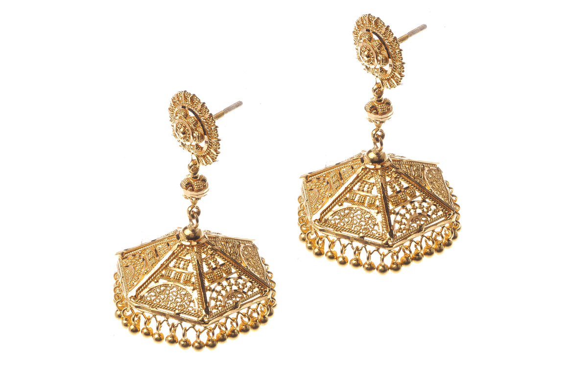 22ct Gold Drop Jhumka Earrings (E-3417) (online price only)
