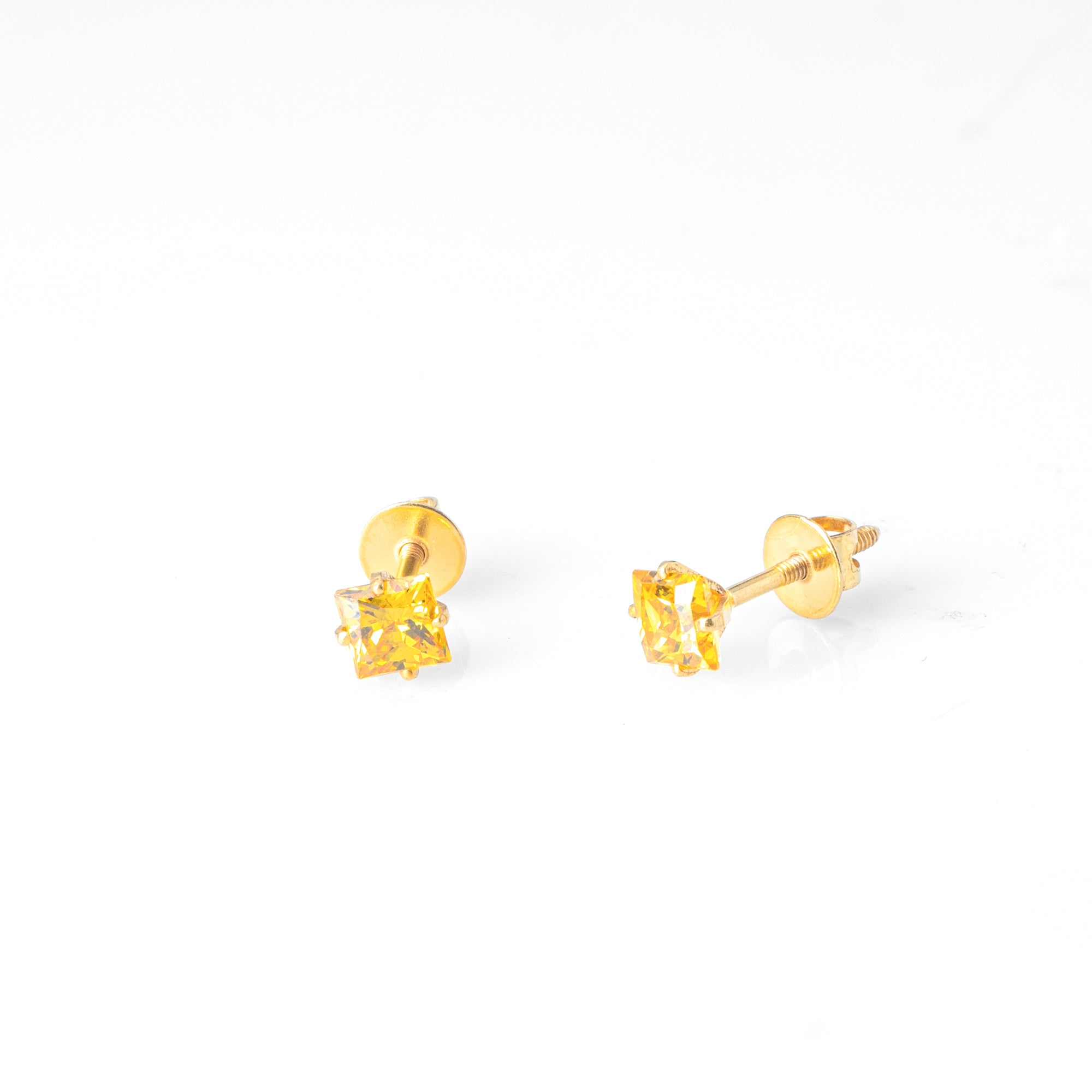 18ct Yellow Gold (with 22ct Gold Plating) Ear Studs set with Princess Cut Colour Cubic Zirconias