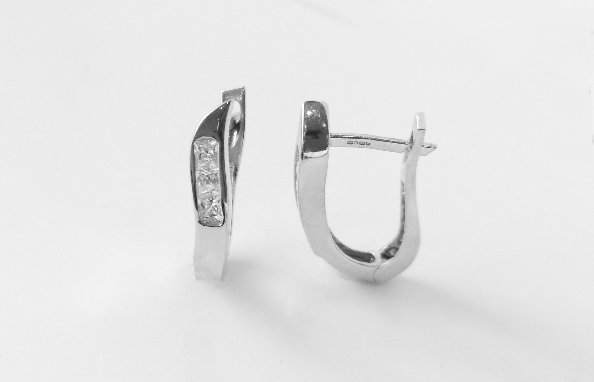 18ct White Gold Hoop Earrings set with Cubic Zirconias (4.7g) E-3882