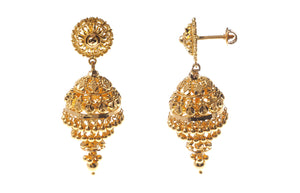 22ct Yellow Gold Drop Jhumka Earrings (18.1g) (E-3999)