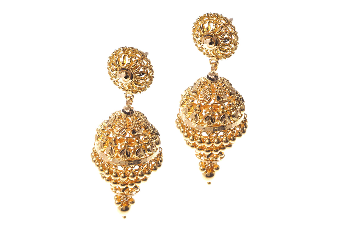 22ct Yellow Gold Drop Jhumka Earrings (E-3999) (online price only)