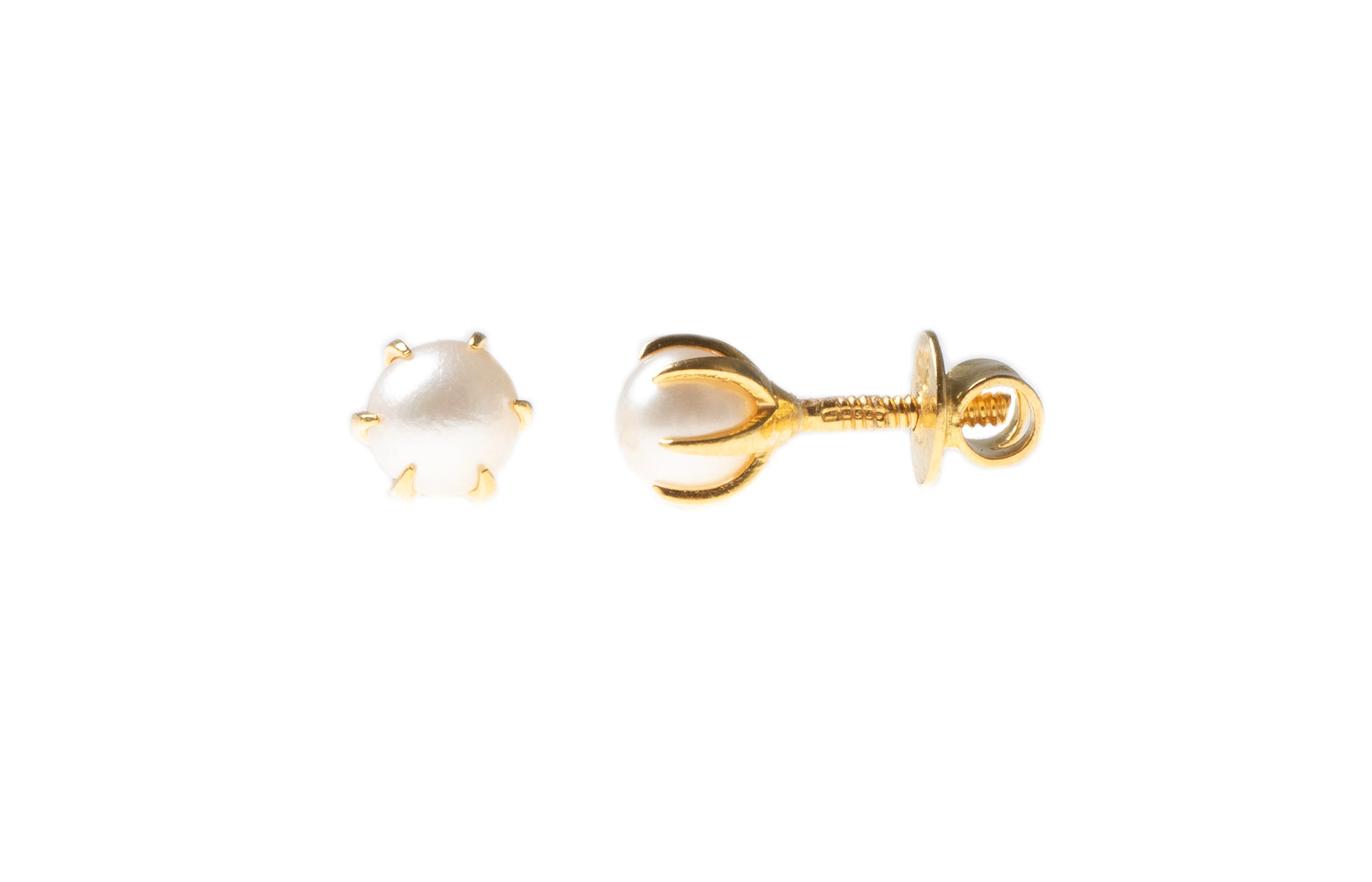 22ct Gold Cultured Pearl Earrings (1.4g) E-4368