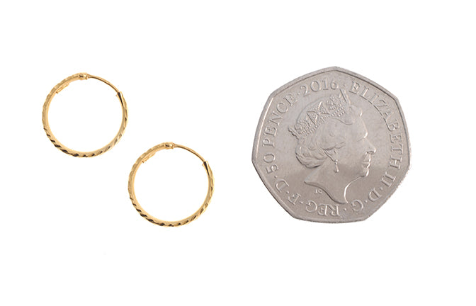 22ct Plain Gold Hoop Earrings (12mm - 40mm diameter)