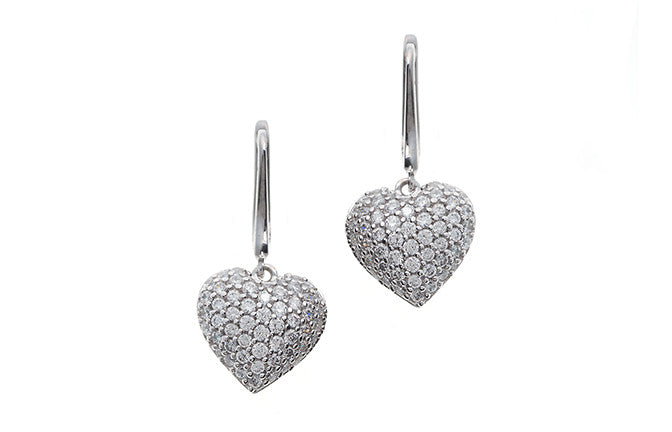 18ct White Gold Cubic Zirconia Heart Shaped Drop Earrings (6.9g) (E-4662)