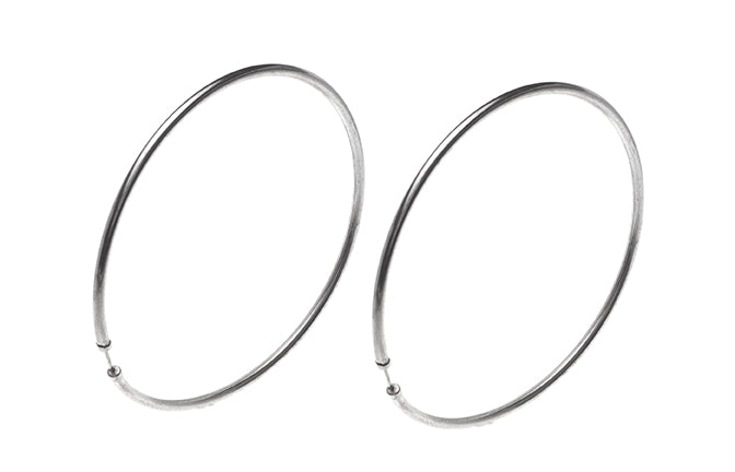 Sterling Silver 73mm Hoop Earrings E-5114