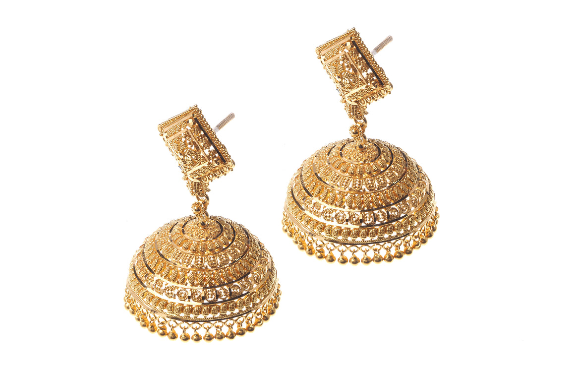 22ct Gold Drop Jhumka Earrings (E-5329) (online price only)