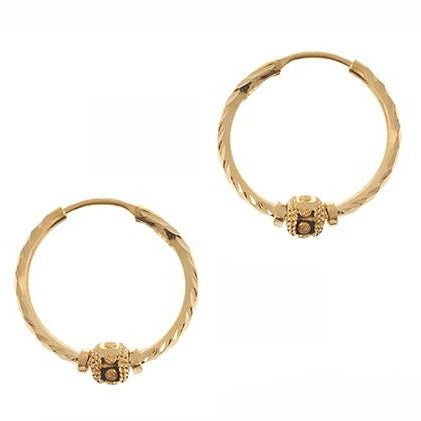 22ct Gold Hoop Earrings with Diamond Cut Design (2g) E-5441