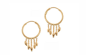 22ct Yellow Gold Hoop & Drop Earrings (3.1g) (E-5445)