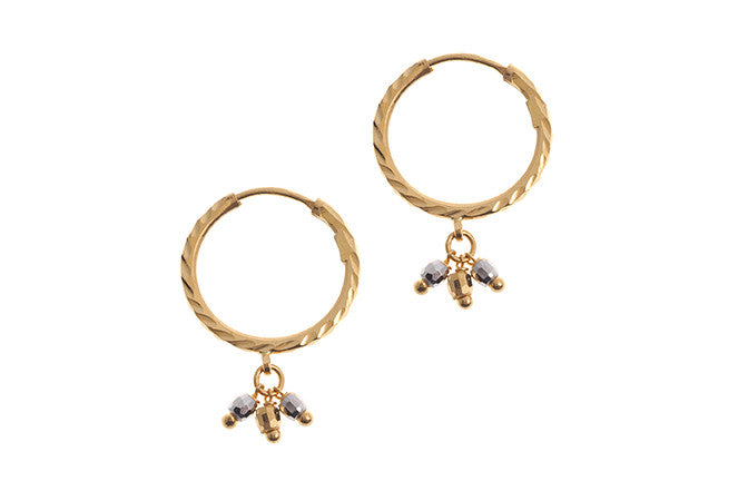22ct Gold Hoop and Drop Earrings with Rhodium Design (2.5g) (E-5541)