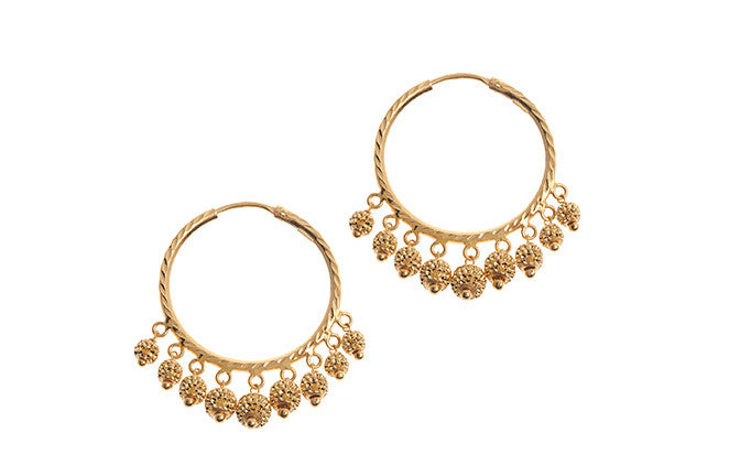 22ct Gold Hoop Earrings with Diamond Cut Design Drops (7.4g) E-5542