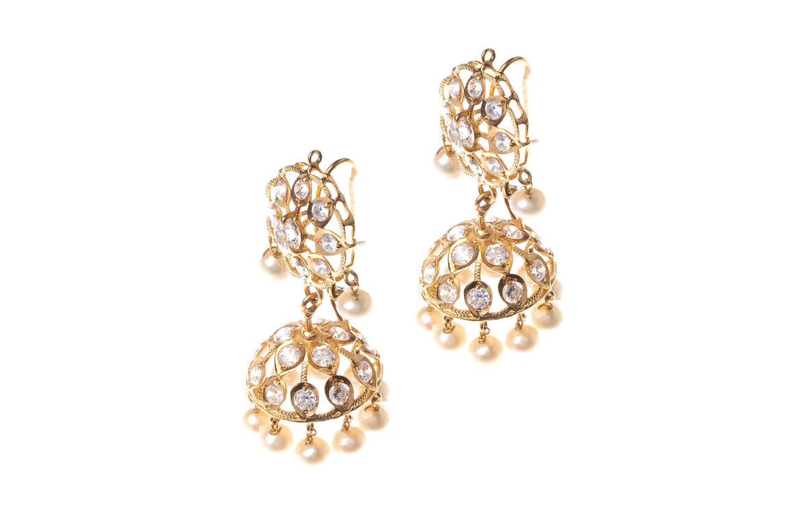 22ct Gold Cubic Zirconia and Cultured Pearl Drop Jhumka Earrings (E-5815) (online price only)