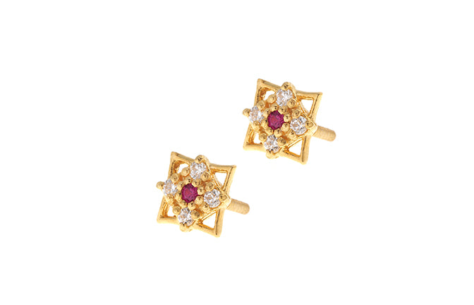22ct Gold Stud Earrings Cubic Zirconia (White & Red) with Screw Backs (E-6070) (online price only)