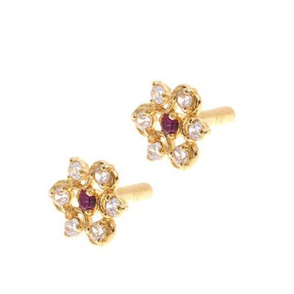 22ct Gold Stud Earrings Cubic Zirconia with South Indian Screw Backs E-6078