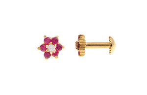 22ct Gold Stud Earrings Cubic Zirconia with South Indian Screw Backs (1.5g) (E-6079)