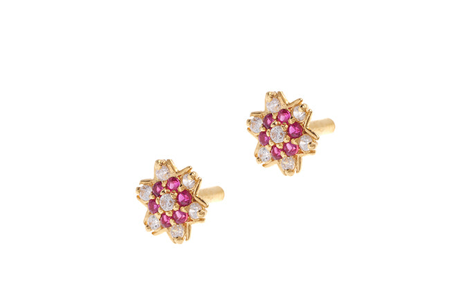 22ct Gold Stud Earrings Cubic Zirconia with South Indian Screw Backs (E-6080) (online price only)