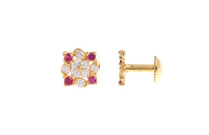 22ct Gold Stud Earrings Cubic Zirconia with South Indian Screw Backs (1.3g) (E-6083)