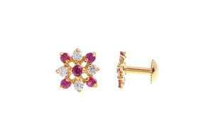 22ct Gold Stud Earrings Cubic Zirconia with South Indian Screw Backs (1.3g) (E-6085)