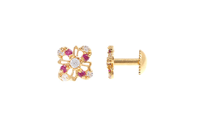 22ct Gold Stud Earrings Cubic Zirconia with South Indian Screw Backs (1.4g) E-6086