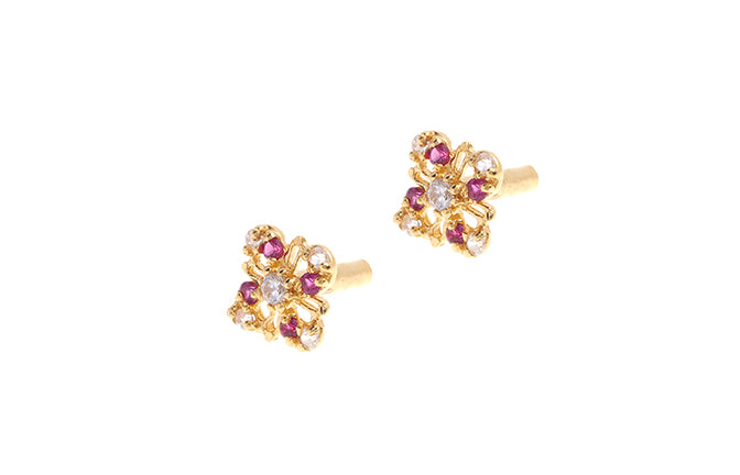 22ct Gold Stud Earrings Cubic Zirconia with South Indian Screw Backs (E-6086) (online price only)