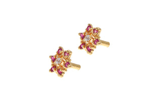 22ct Gold Stud Earrings Cubic Zirconia with South Indian Screw Backs (2.1g) (E-6117)