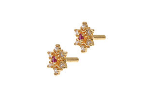 22ct Gold Stud Earrings Cubic Zirconia with South Indian Screw Backs (2.2g) (E-6120)