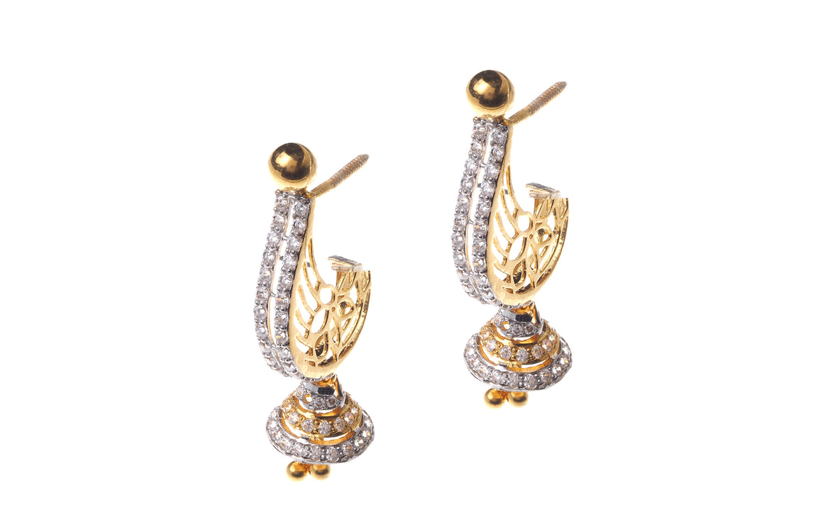 22ct Gold Cubic Zirconia Drop Jhumka Earrings (E-6297) (online price only)