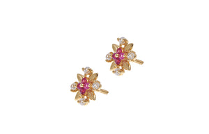 22ct Gold Stud Earrings Cubic Zirconia with South Indian Screw Backs (2.6g) (E-6415)