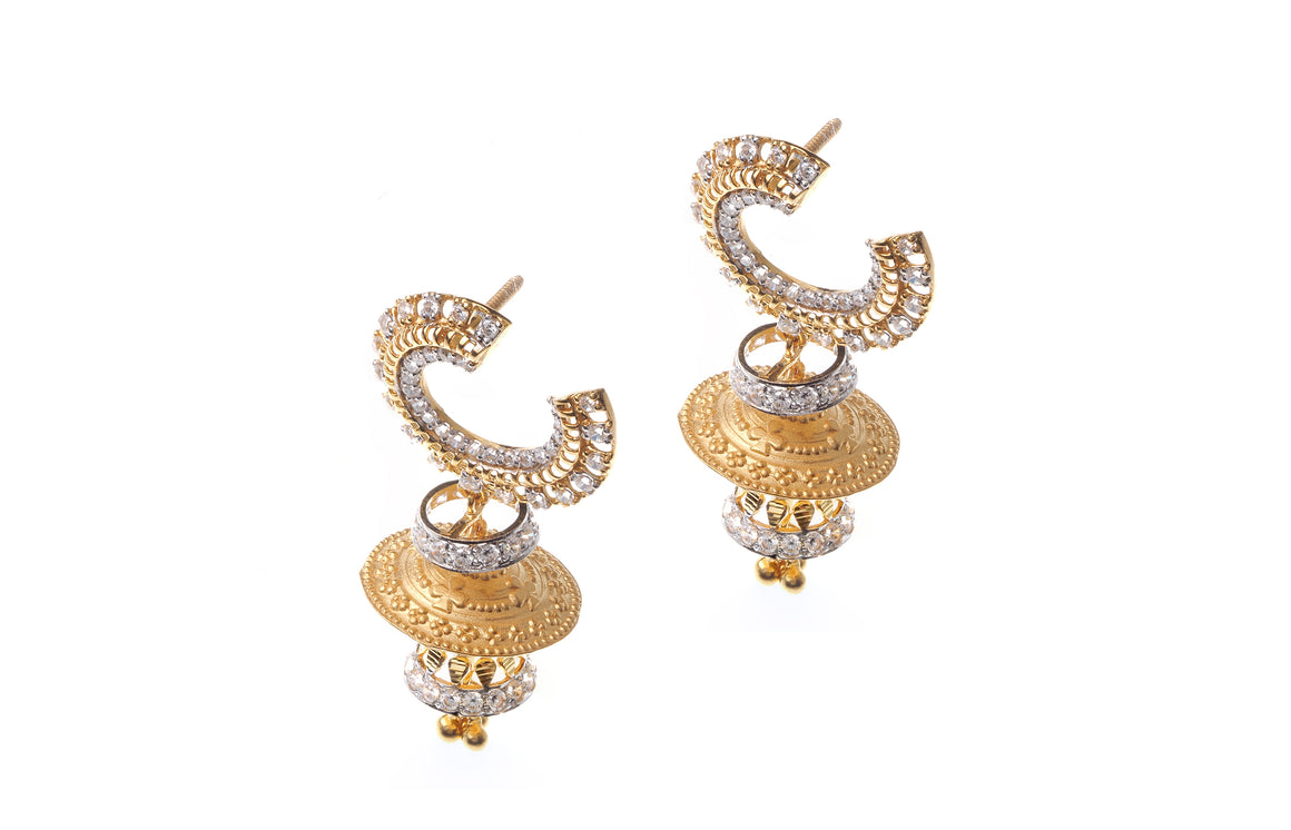 22ct Gold Cubic Zirconia Drop Jhumka Earrings (E-6536) (online price only)