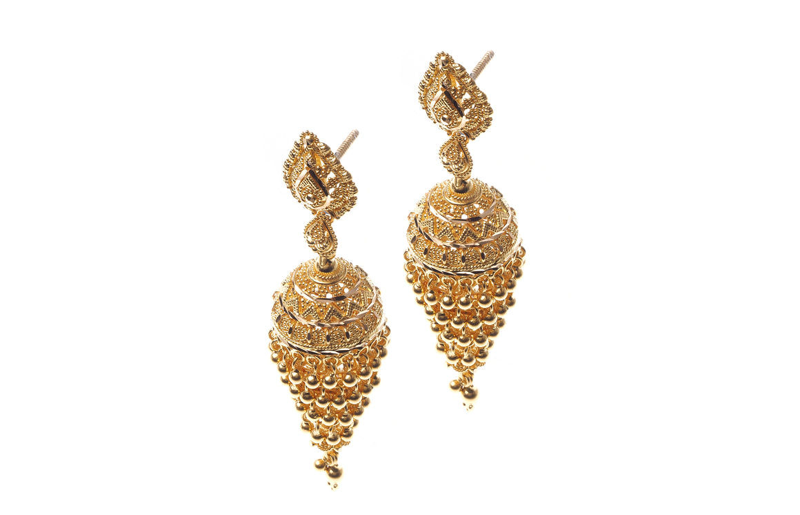 22ct Gold Drop Jhumka Earrings (E-6537) (online price only)