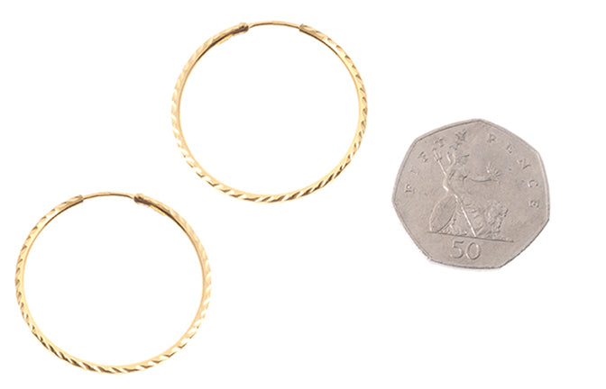 22ct Plain Gold Hoop Earrings (12mm - 35mm diameter)