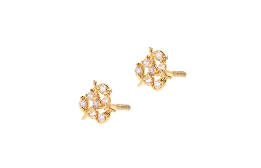 22ct Gold Stud Earrings Cubic Zirconia with Screw Backs (1.6g) (E-6620)
